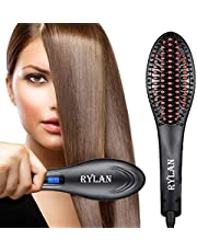RYLAN Hair Electric Comb Brush 3 in 1 Ceramic Fast Hair Straightener For Women's Hair Straightening Brush with LCD Screen, Temperature Control Display,Hair Straightener For Women (Black.)