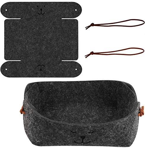 OOTSR [2-Pack Faltbare Aufbewahrungsbox aus Filz, Schreibtisch Premium-Aufbewahrungskorb aus Filz Aufbewahrungskorb für Münzen TV-Fernbedienungen Smartwatch-Handys, Grau
