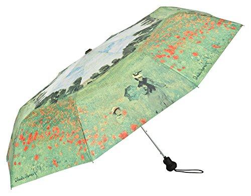 VON LILIENFELD Regenschirm Taschenschirm Stabil Leicht Auf-Automatik Damen Herren Kunst Motiv Claude Monet: Mohnblumenfeld