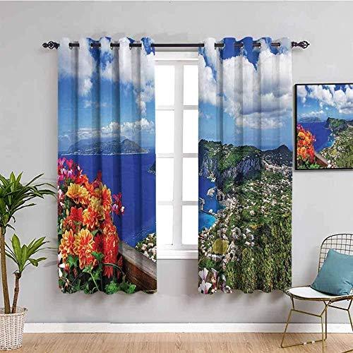 LucaSng Cortinas de Opacas - Azul Cielo Paisaje Isla - 234x138 cm - para Sala Cuarto Comedor Salon Cocina Habitación - 3D Impresión Digital con Ojales Aislamiento Térmico Cortinas
