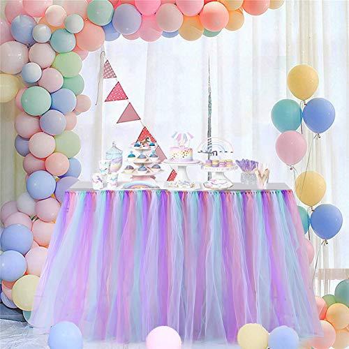 DishyKooker Einfarbig Tisch Rock Dekoration für Hotel Hochzeit Weihnachtsfeier 80cmx91,5 cm Colorful B Haushalt