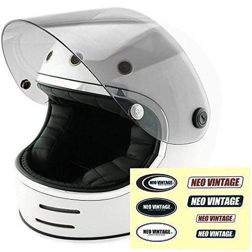 NEO VINTAGE レトロフューチャー フルフェイス SG規格品 ステッカー付 [ホワイト×ライトスモークシールド 白 Lサイズ:59-60cm対応] VT-9 バイクヘルメット