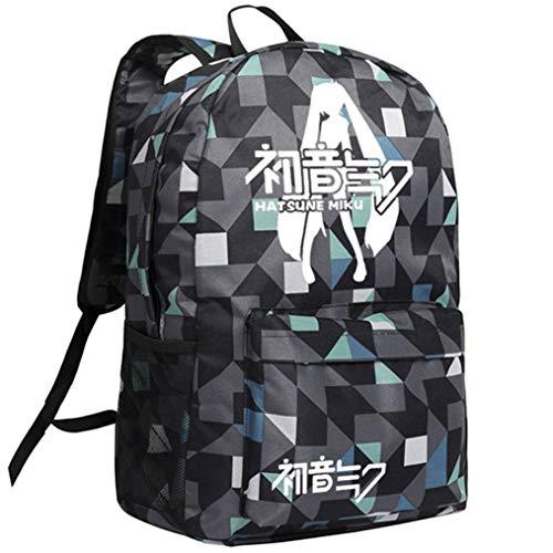 Cosstars Hatsune Miku Leuchtend Anime Rucksack Schulrucksack Backpack Karierter Streifen Schultasche