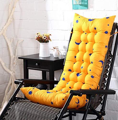 Marbeine Matelas Coussins pour Chaise Longue, Coussin de Chaise Coussin Mat pour Chaise Fauteuil de Relax Transat de Jardin Terrasse 48 * 125 * 8cm (Jaune Dessin)