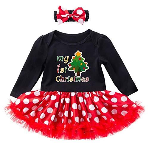 Ynnxia 2 Stks Set Kerst Jurk Baby Meisjes Lange Mouw Rok Katoen Zwart Cool Meisje Jumpsuit Romper Kleding Set voor Pasgeboren Baby Meisje