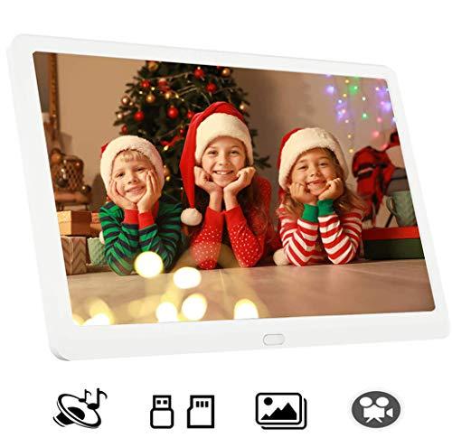 GJF Digitale fotolijst, 14 inch (1280 x 800 (16: 9) LCD-scherm met hoge resolutie voor videospeler/klok/kalender met afstandsbediening