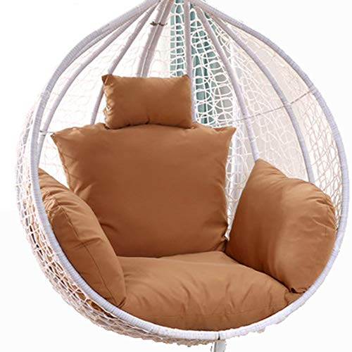 Egg Chair Cushion Only, Hanging Swing Chair Seat Cushion Replacement, Thicken Hanging Hammock Chair Cushion with Headrest and Armrests, Outdoor Garden Chair Pads Maroon