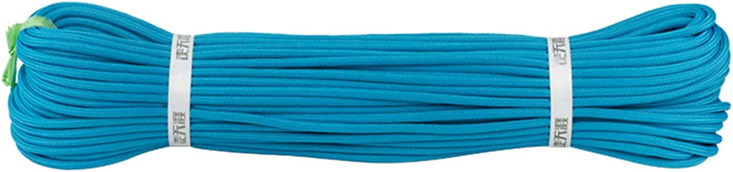 6MM Outdoor Mountaineering Auxiliary Adventure Camping Safety Rescue AntiSkid Rope,blueee10m6mm