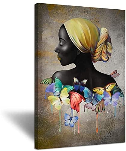 Cuadros de Pared Belleza Abstracta Mujer Negra con Diadema Amarilla Cuadro de Retrato de Mariposa Dormitorio Decoración del hogar 60x80cm sin Marco