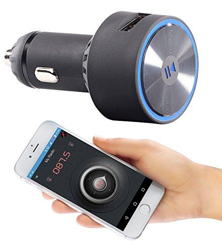 auvisio FM Adapter: Kfz-FM-Transmitter FMX-520.BT mit Bluetooth und App-Steuerung (Transmitter Auto)