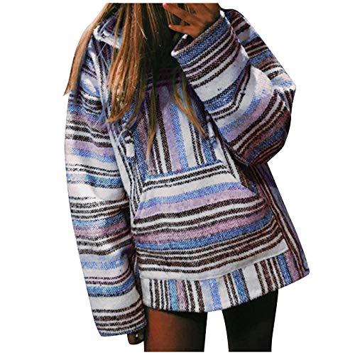 HOTHONG Weatshirt Femme Pull Rayé Christmas Sweat Pullover T-Shirt Tunique Haut à Manches Longues Sweater Pull-Over De NoëL Cadeaux Sweat Top Blouse Chaud Oversize Shirt