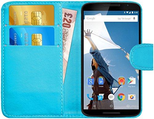 G-Shield Hülle für Google Nexus 6 Klapphülle mit Kartenfach - Hellblau