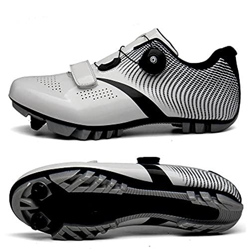 RHSMW Unisex Zapato De Bicicleta De Bloqueo De Carreteras, Los Zapatos De MTB Nylon Transpirable, Bicicleta De Carretera Taco De Zapato De Ciclismo Senderismo,Plata,EU38