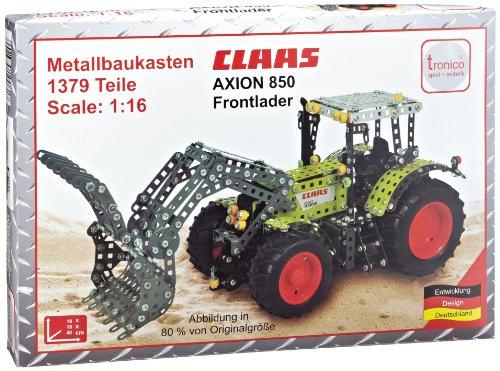 Tronico 10061 - Metallbaukasten Traktor Claas Axion 850 mit Frontlader, Maßstab 1:16