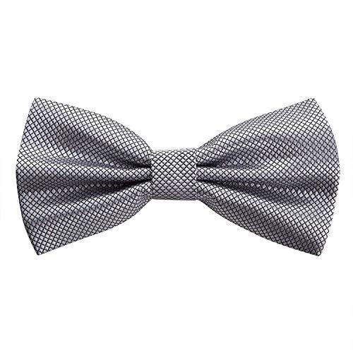 OKCS Papillon da uomo con chiusura a gancio, fiocco per cravatta e cravatta, per matrimonio, festa, colore: argento/grigio