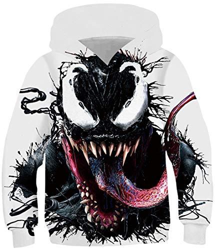 OLIPHEE Jungen 3D Cartoon gedruckt Pullover Long Sleeve Pulli für Kinder Venom L