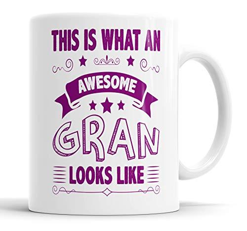 """Taza con texto en inglés """"This is What an Awesome Gran Looks Like humor, broma, regalo de amigo"""", cumpleaños, Navidad, tazas de cerámica"""