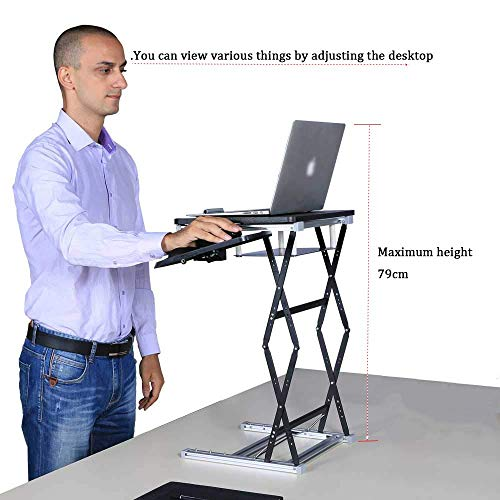 ZKORN Folding Computer Desk, portable lift table converter height-adjustable ergonomic laptop stand mobile workstation suitable for all office schools