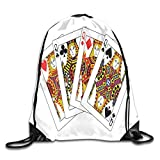 Drawstring Bag Sport Gym Sackpack-Queens Poker Set Faces Hearts And Spades Gambling Theme Symbols Playing Cards,Drawstring backpack Mouth Gym Sack Rucksack Shoulder Bags For Men & Women