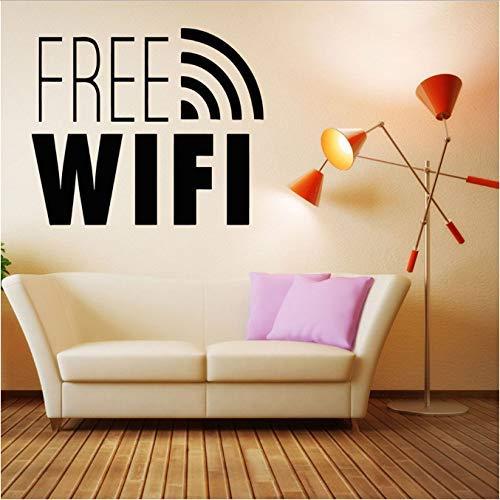 Muurstickers Gratis WiFi Internet Verbinding Karakter Ramen Muurstickers Decoratieve Patroon in Salon Cafe Verwijderbare 57X65 cm