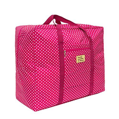Plegable Maletas y Bolso de Viaje Bolsa de Mujere Hombre Gimnasio Bolsa Deportiva Mano de Viaje Cabina de Equipaje Bolso Holdall Bolsa Fines de Semana Organizador de Viajes (Rosa roja 2)