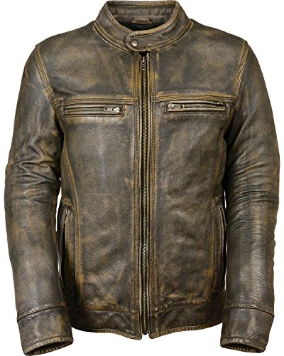 Milwaukee Leather Men's Distressed Scooter Jacket W/Venting Distressed Brown (5X-Large)
