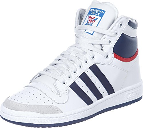 adidas Top Ten Hi, Zapatillas Unisex Adulto, Blanc Bleu Marine Rouge, 40 EU