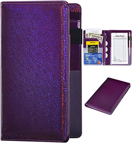 Server Books for Waitress - Glitter Leather Waiter Book Server Wallet with Zipper Pocket, Cute Waitress Book&Waitstaff Organizer with Money Pocket Fit Server Apron(Glitter Purple)