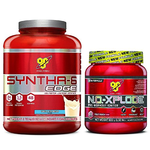 BSn Syntha-6 Edge 1.78kg Vanilla with N.O.-XPLODE Fruit Punch 600g