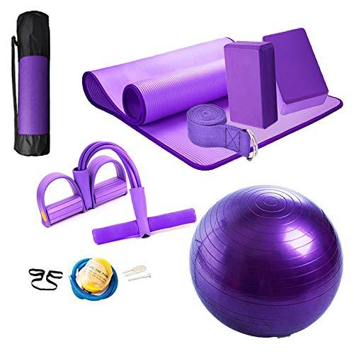 HONGBEI Yoga Set 11-Piece Yoga Mat with Carrying Strap,Yoga Blocks 2 Pack,Yoga Strap,Yoga Ball,Ankle Puller,Yoga Set,Yoga Mat Yoga Kits and Sets for Beginners,Yoga Mat Sets for Women (Purple)