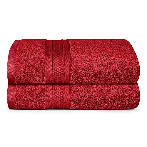 TRIDENT Bath Towel, 2 Piece Bathroom Towel, 100% Cotton, Highly Absorbent, Super Soft, Soft and Plush, 500 GSM (Crimson)