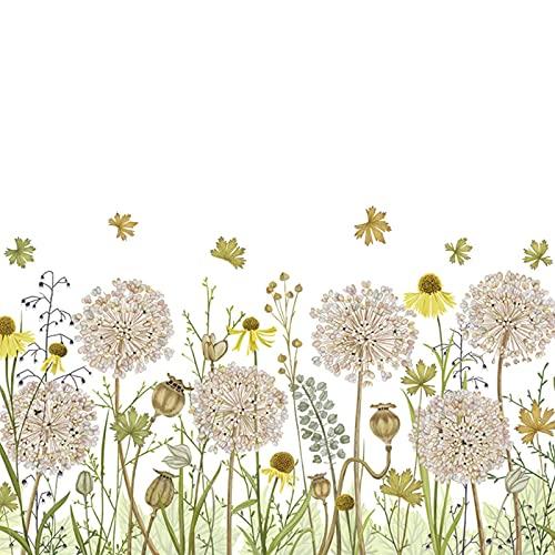YUEWEIWEI Pegatinas de Pared Decorativas Retro Pastoral Arte Planta Flores Cálido Autoadhesivo Papel Pintado Pintura Sala de Estar Dormitorio Impermeable y removible