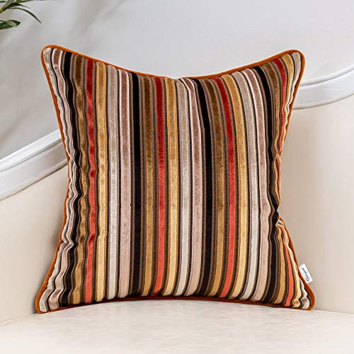 Yangest Orange Striped Velvet Throw Pillow Cover Multicolor Textured Boho Cushion Case Modern Zippered Pillowcase for Sofa Couch Bedroom Living Room Home Christmas Decoration,20x20 Inch