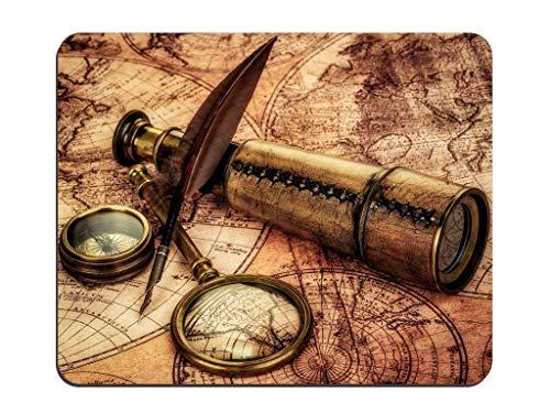 Weltkarte Altes Kompass-Teleskop Rechteckiges rutschfestes Gummi-Mauspad Angepasstes Desktop-Laptop-Gaming-Mauspad