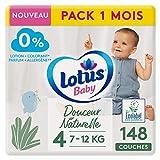 LOTUS Baby - Pañales de suavidad natural, talla 4, 7, 12 kg, paquete de 1 mes