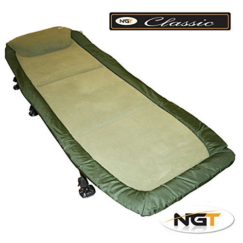 NGT Carp Fishing Bedchair Bed Chair With 6 Adjustable Legs Very Soft Micro Fleece Fabric Mattress For A Good Night Sleep by NGT: Amazon.es: Deportes y aire libre