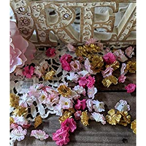 Silk Flower Arrangements Flower Confetti, Baby's Breath, Pink And Gold Birthday Decorations, Girl Baby Shower Decorations, Gender Reveal Party