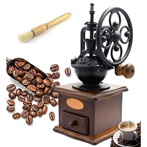 Fecihor Macinacaffè manuali, Legno Macinino da caffè Macchina puro legno polvere di caffè Collection Box stile vintage a mano mulino macina caffè Coffee Bean con Core macinazione in ceramica