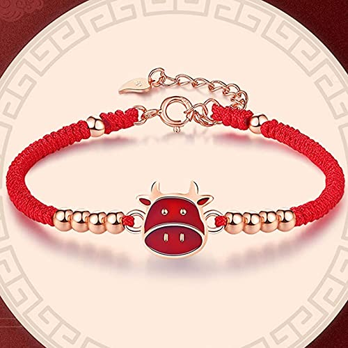 Pulsera Feng Shui Bead Lucky Charm Bracelet 2021 Año del OX S925 ST925 Silver Chinese Zodiac Head Head Beads Silver Crode Cuerda trenzada Pulsera Ajustable Amuleto Ward Off Olam Spirits, Pulsera de ab