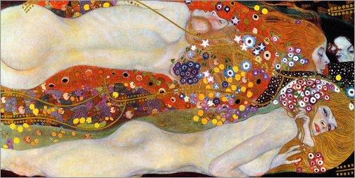 Acrylglasbild 80 x 40 cm: Wasserschlangen II von Gustav Klimt - Wandbild, Acryl Glasbild, Druck auf Acryl Glas Bild