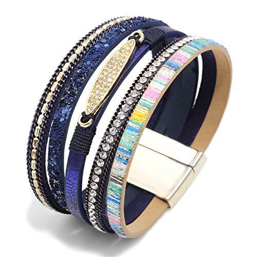 MallDou Jewelry Tree of Life Wrap Boho Leather Wide Cuff Handmade Wristbands Braided Magnetic Buckle Bangle Bracelet Gift for Women Girl (Zircon Blue)