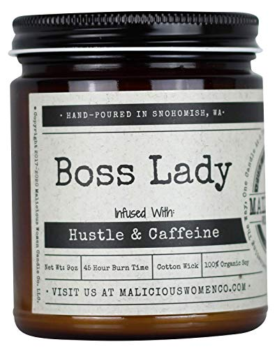Malicious Women Candle Co - Boss Lady, Expresso Yo Self Infused with Hustle & Caffeine, All-Natural Organic Soy Candle, 9 oz
