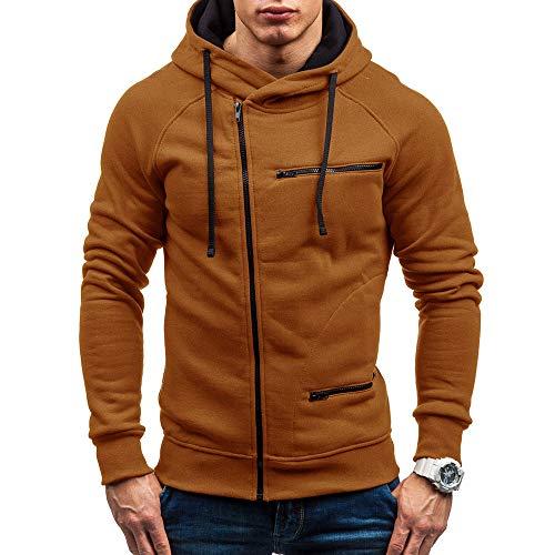 MRULIC Herren New Slim Fit Halfzip Jacke Kapuze Hoodie Sweatshirt Kapuzenpullover RH-004(Khaki,EU-46/CN-L)