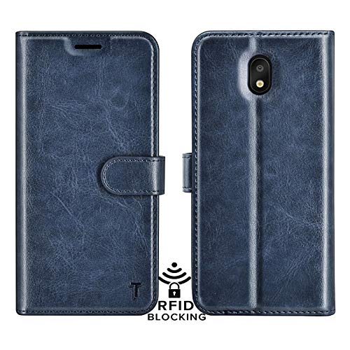 NJJEX LG Aristo 4+ Plus Case, LG Escape Plus/Journey LTE/Tribute Royal/Arena 2/K30 X2 2019 Wallet Case, RFID Blocking PU Leather Folio Flip Card Slots Holder [Kickstand] Phone Cover -DarkBlue