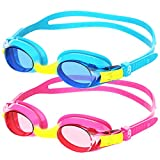 findway Gafas de Natación, 2 Piezas Gafas para Nadar Adecuado a Los 4 a 12 Años Niños, Gafas de Correa de Silicona con Lente Antivaho para Proteger el UV (Azul-Rosa)