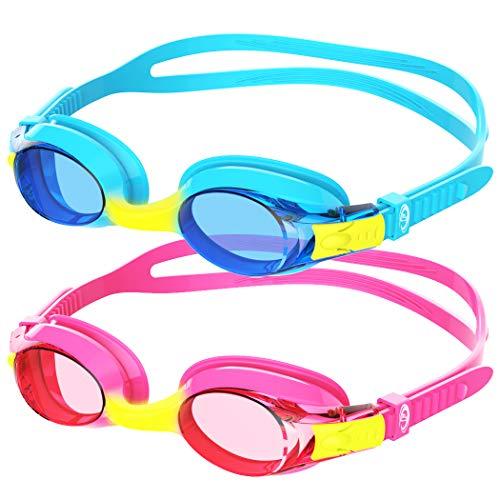 findway Gafas de Natación Niños, 2 Piezas Gafas para Nadar Adecuado a Los 3, 4, 5, 6, 7, 8, 9, 10, 11, 12 Años Infantil, Gafas de Correa de Silicona con Lente Antivaho para Proteger el UV