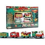 Set trenino natalizio, trenino giocattolo con luci e suoni, trenino elettrico a batteria binari ferroviari rotondi giocattolo per sotto/intorno all'albero di Natale con binari,per ragazzi di 3 4 5 6