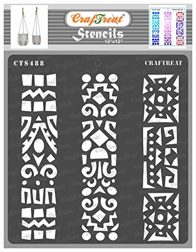 CrafTreat Folk Art Stencils for Painting on Wood, Canvas, Paper, Fabric, Floor, Wall and Tile - Folkart Borders - 12x12 Inches - Reusable DIY Art and Craft Stencils Borders - Stencils Folk Art