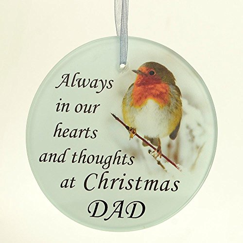Angraves Dad Christmas Robin Memorial Tree Hanging Decoration Gift Plaque Momento Tribute Ornament