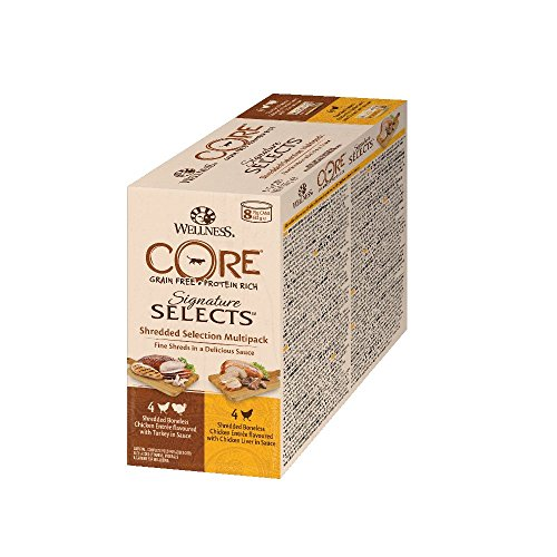 Wellness CORE Signature Selects, Katzenfutter nass in Sauce, getreidefrei, hoher Fleischanteil, Shredded Selection Mix, 8 x 79 g